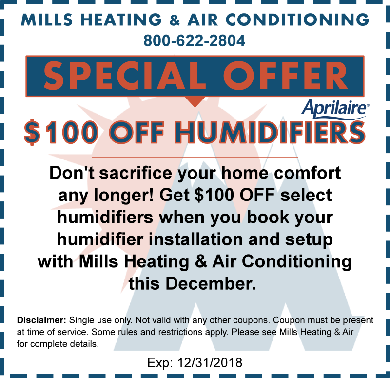 humidifier discount coupon december 2018