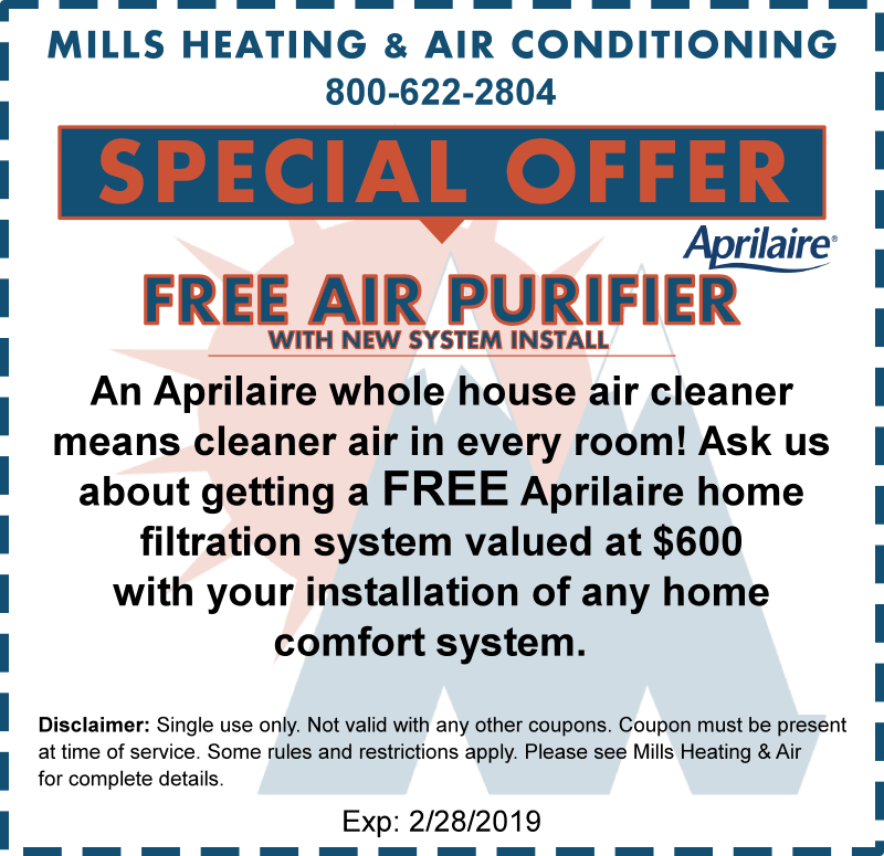 aprilaire free air purifier february special offer coupon