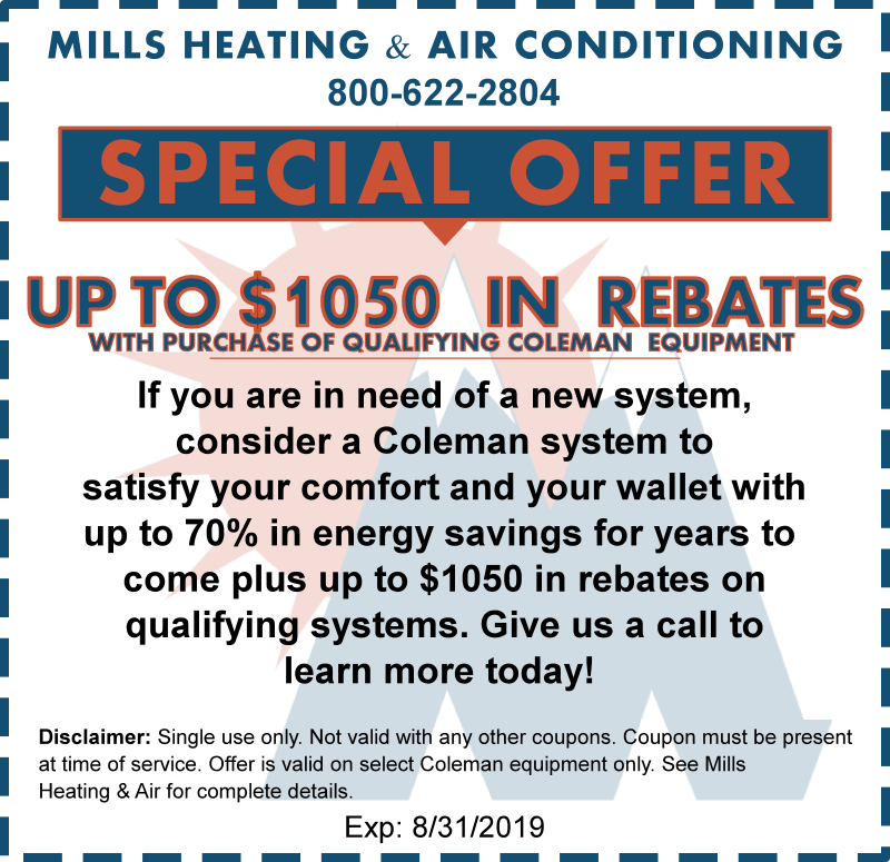 AUGUST AC SYSTEM COLEMAN REBATE SPECIAL OFFER