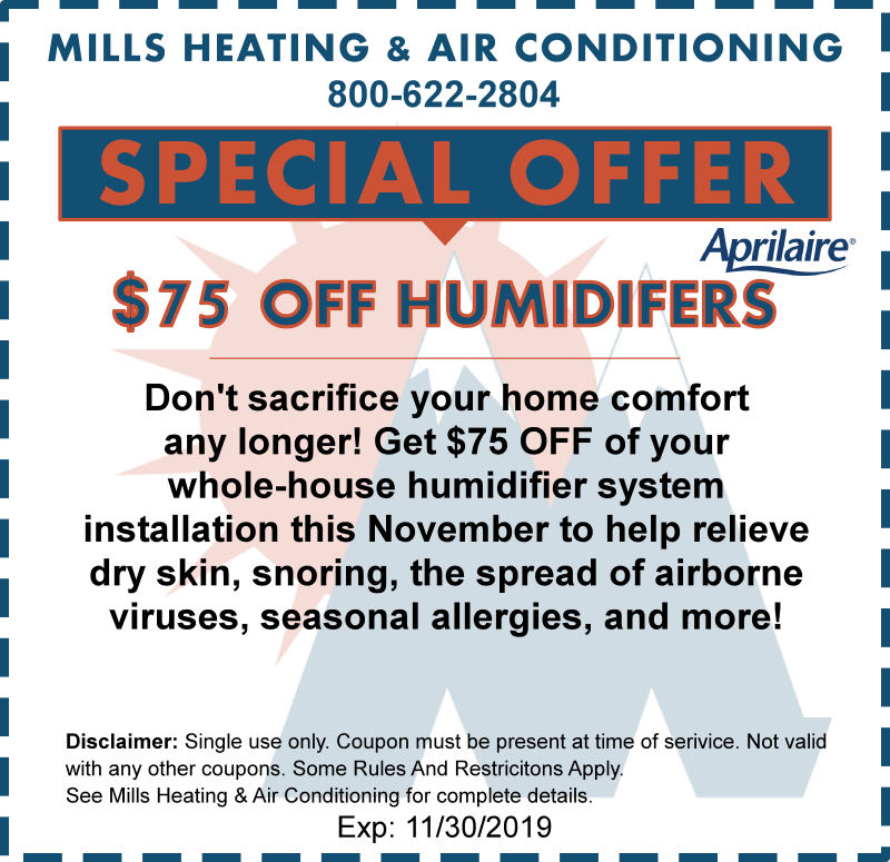 whole house humidifier coupon special offer november 2019