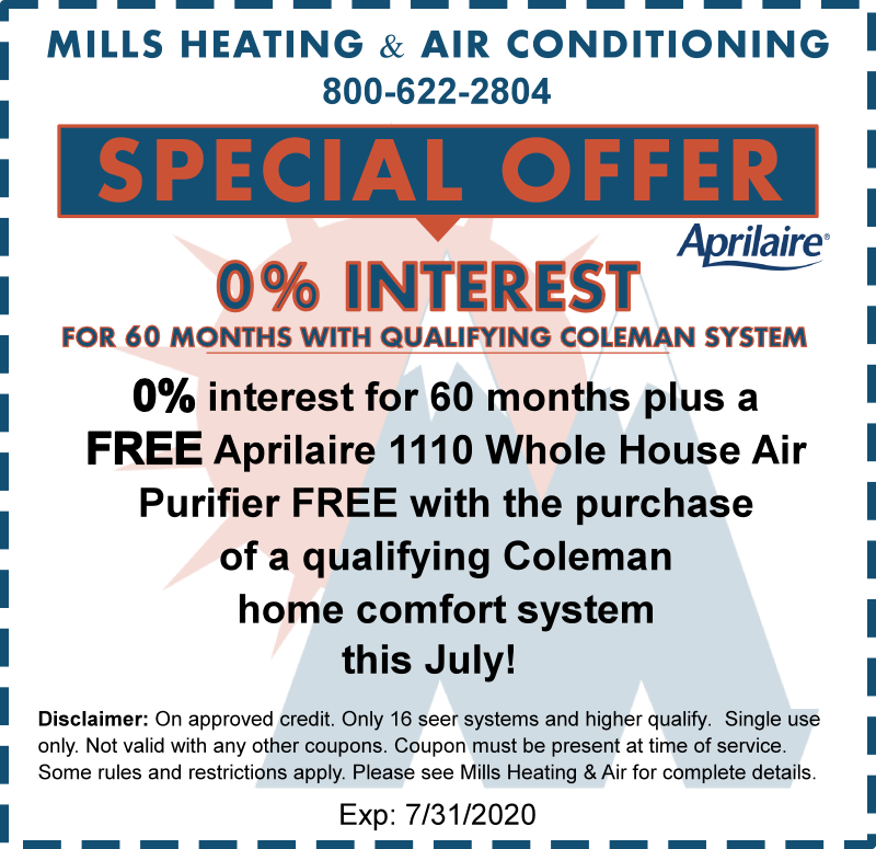 JULY 2020 COLEMAN AIR CONDITIONER DISCOUNT SPECIAL OFFER