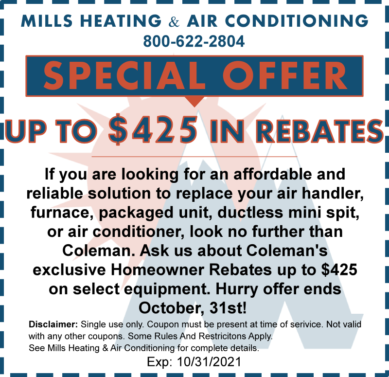 may-october 2021 coleman hvac homeowner rebate special offer coupon discount